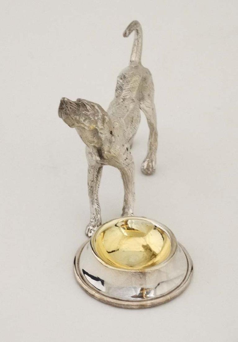 A silver plate novelty table salt formed as a dog - 4