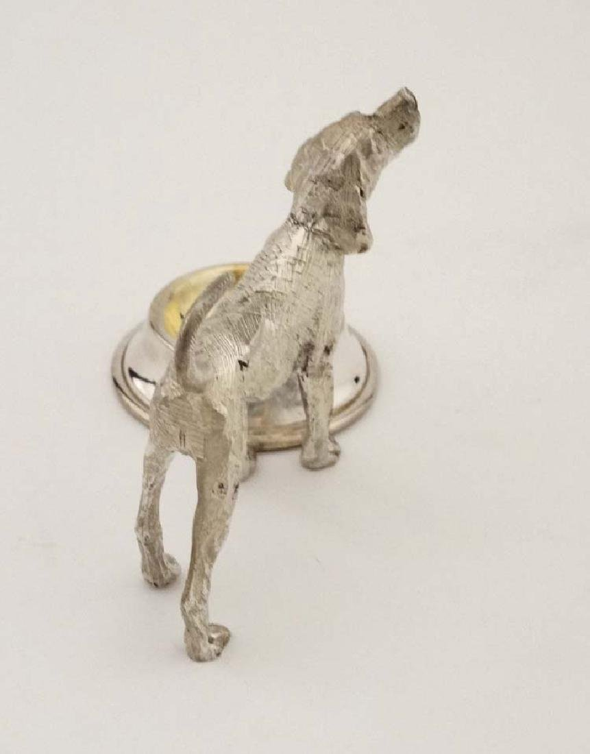 A silver plate novelty table salt formed as a dog - 5