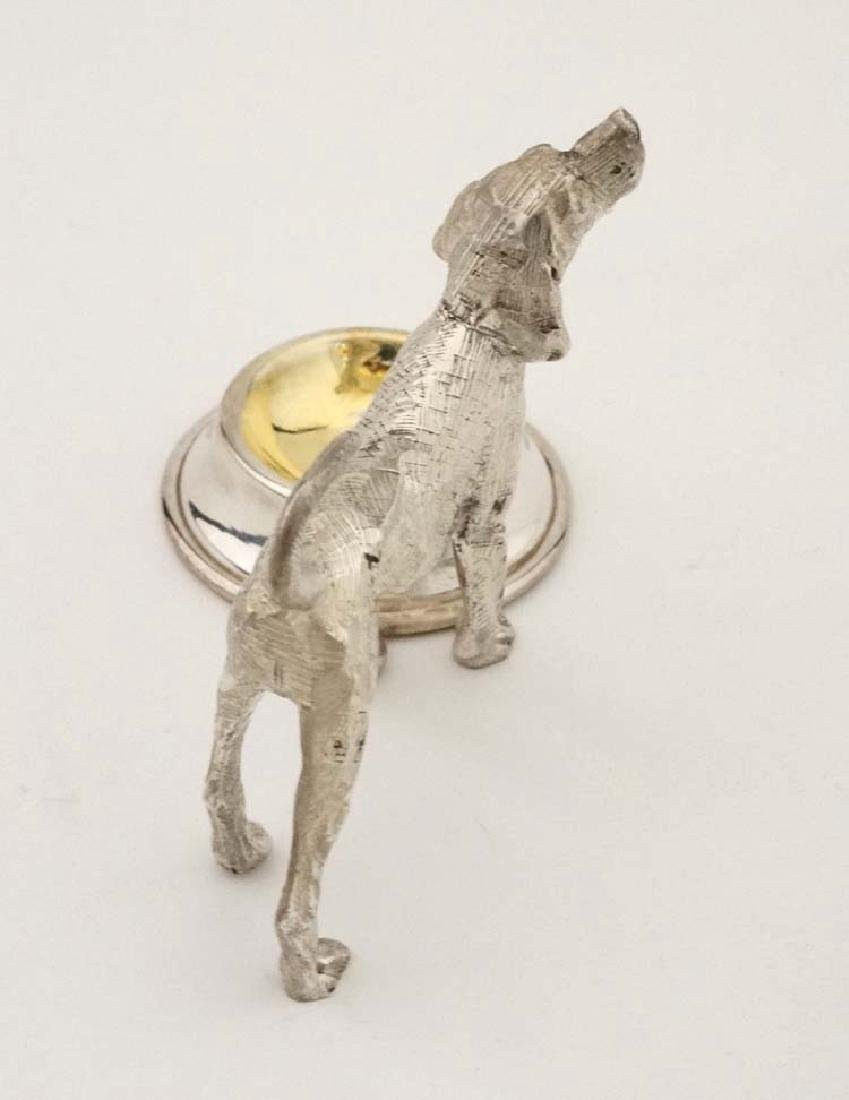 A silver plate novelty table salt formed as a dog - 6
