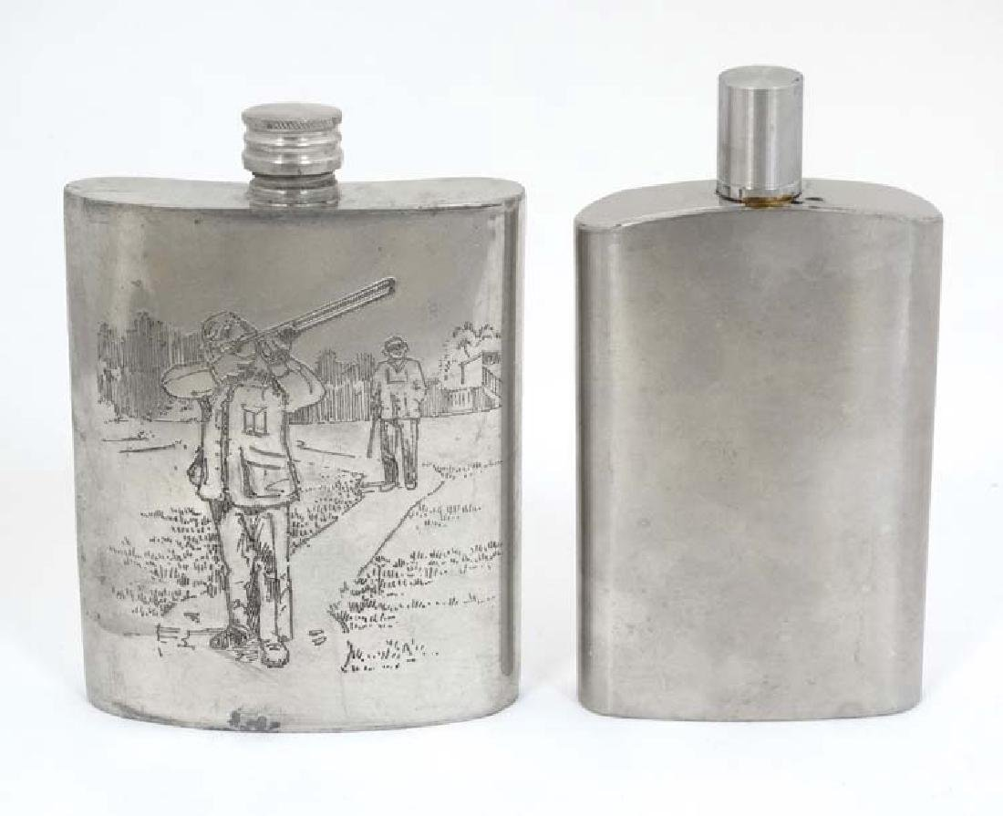 Two hip flasks, one with engraved shooting scene, the