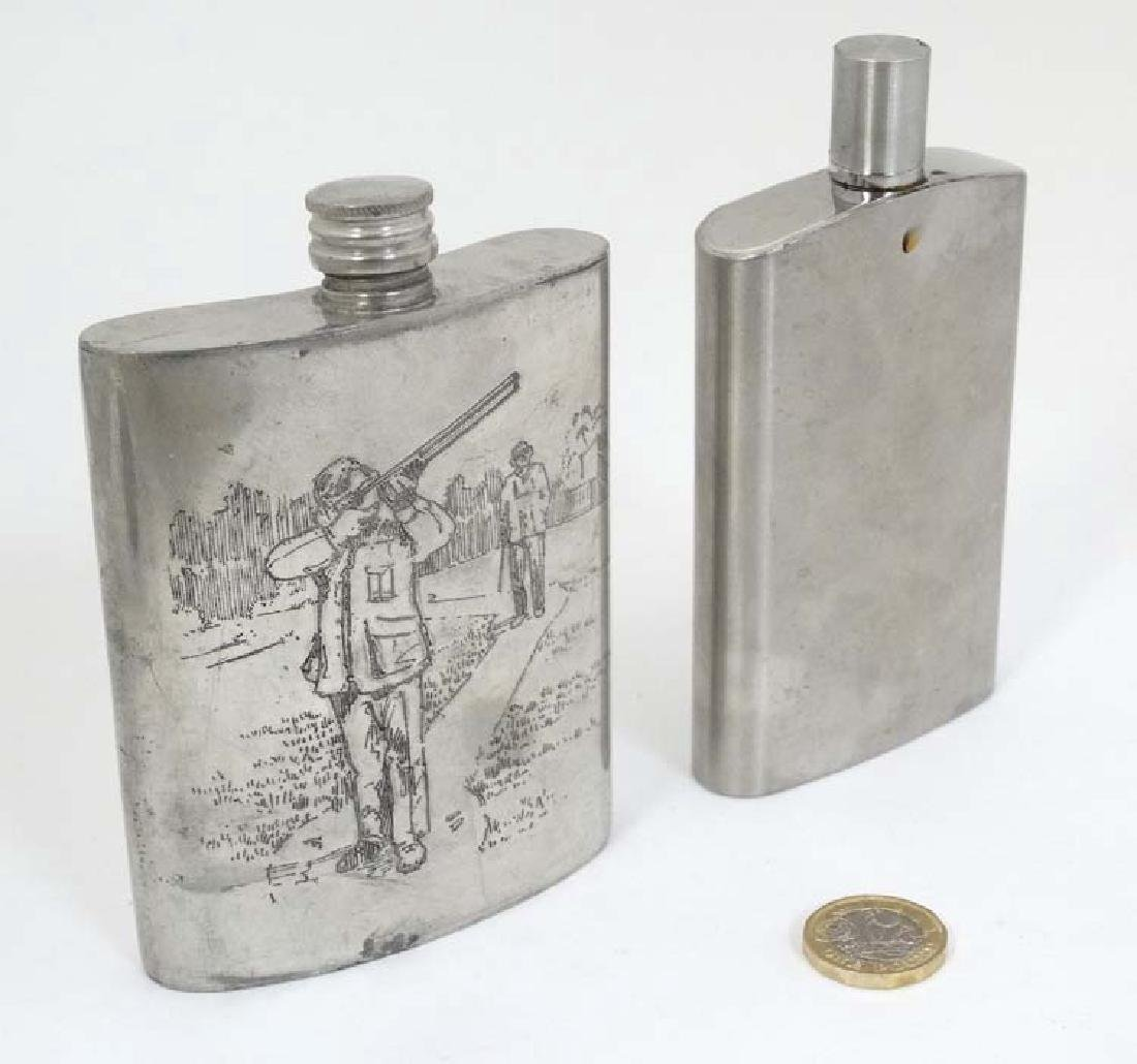 Two hip flasks, one with engraved shooting scene, the - 3