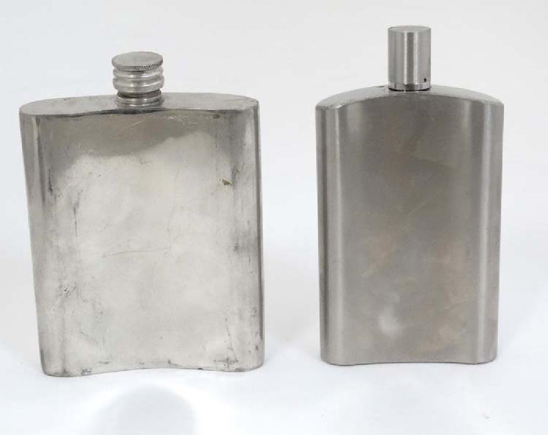 Two hip flasks, one with engraved shooting scene, the - 4