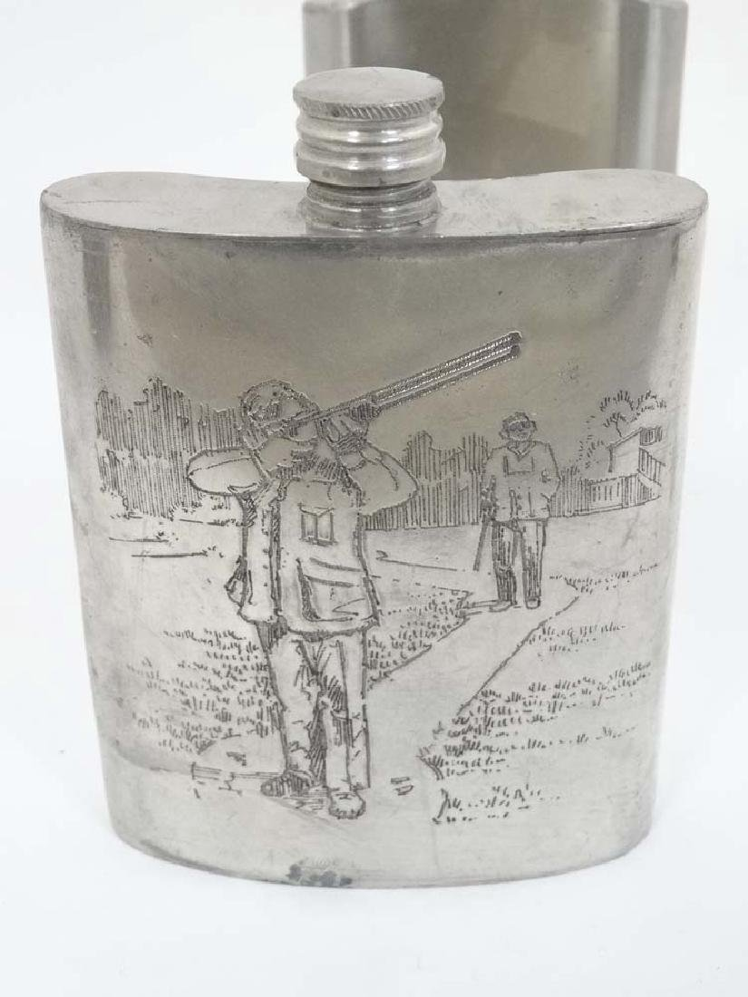 Two hip flasks, one with engraved shooting scene, the - 5