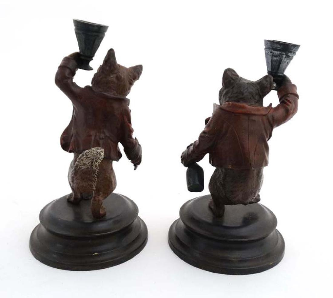 A pair of 21stC novelty cold painted bronze - 4