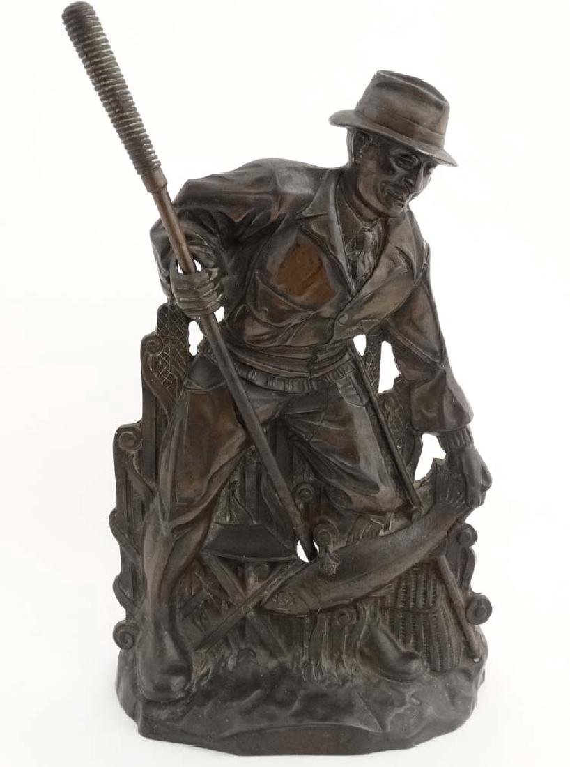 Fishing: A cast bronze relief fireside poker in the - 3