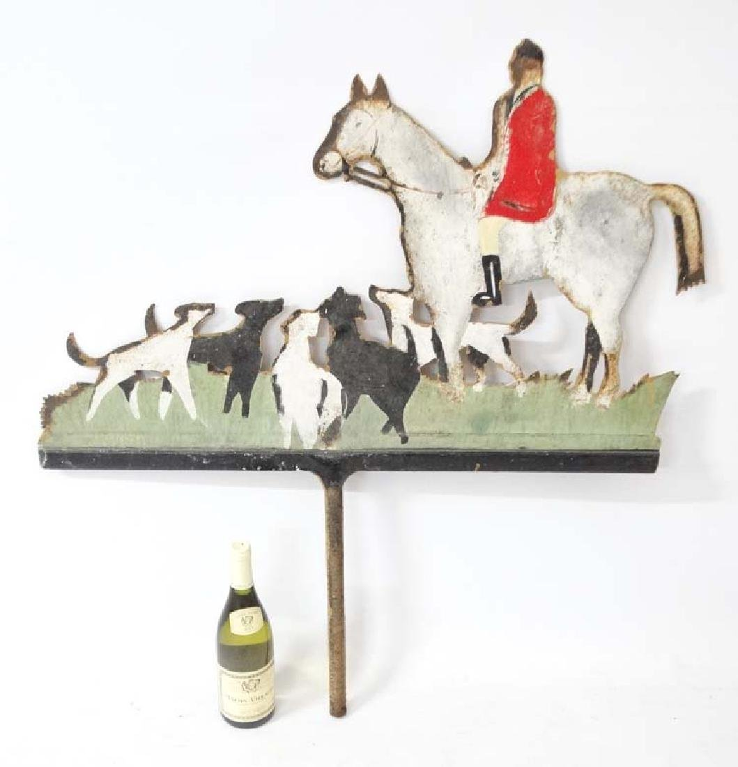 Hunting: A mid 20thC painted metal weathervane ,