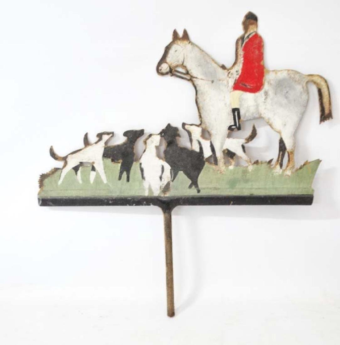 Hunting: A mid 20thC painted metal weathervane , - 3
