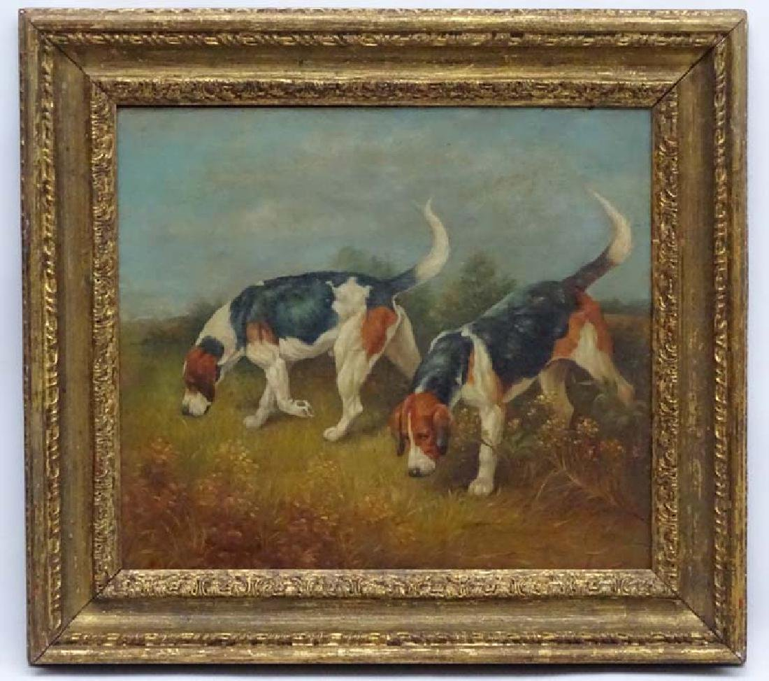 Early-mid XX Canine School, Oil on board, Two hound