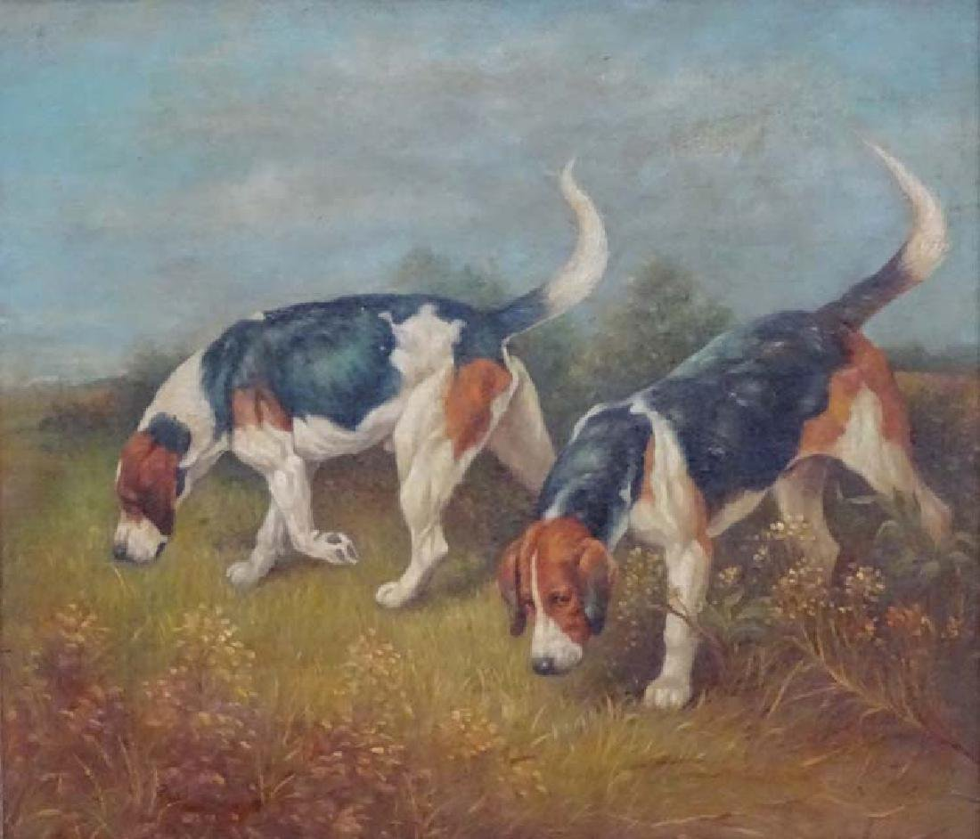 Early-mid XX Canine School, Oil on board, Two hound - 3