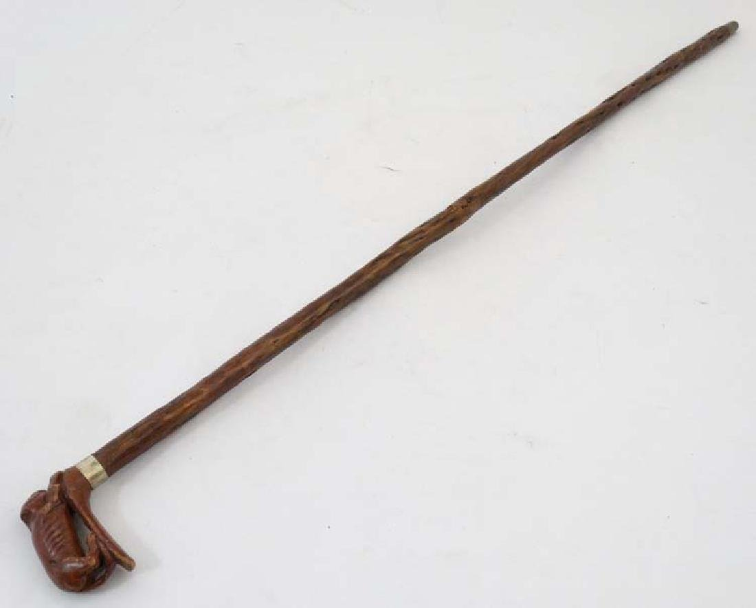 Walking Stick : a c.1900 holly shafted stick surmounted - 6