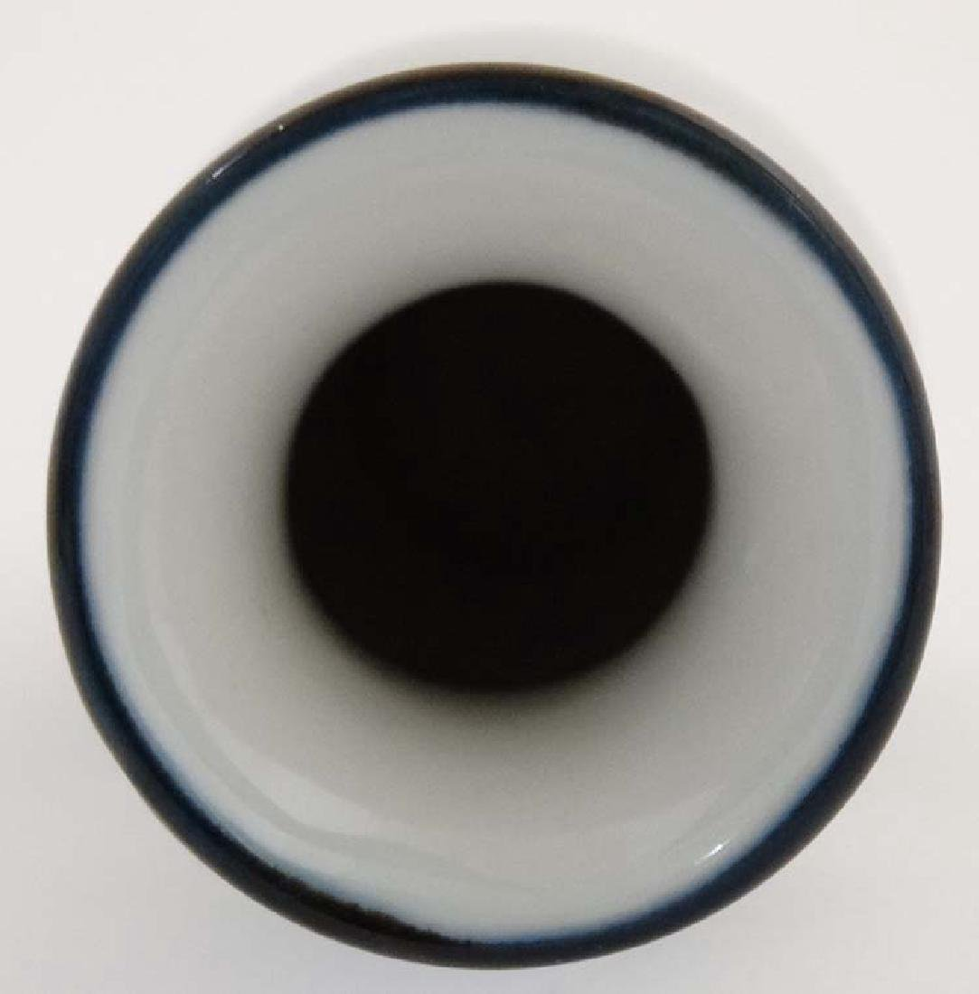 A black and white Chinese vase decorated with pagodas, - 5