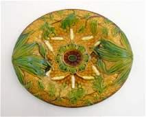 A Victorian Majolica basket weave bread plate