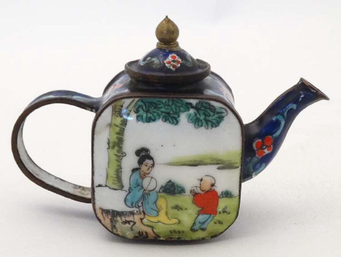 A Chinese cloisonné miniature teapot with hand painted