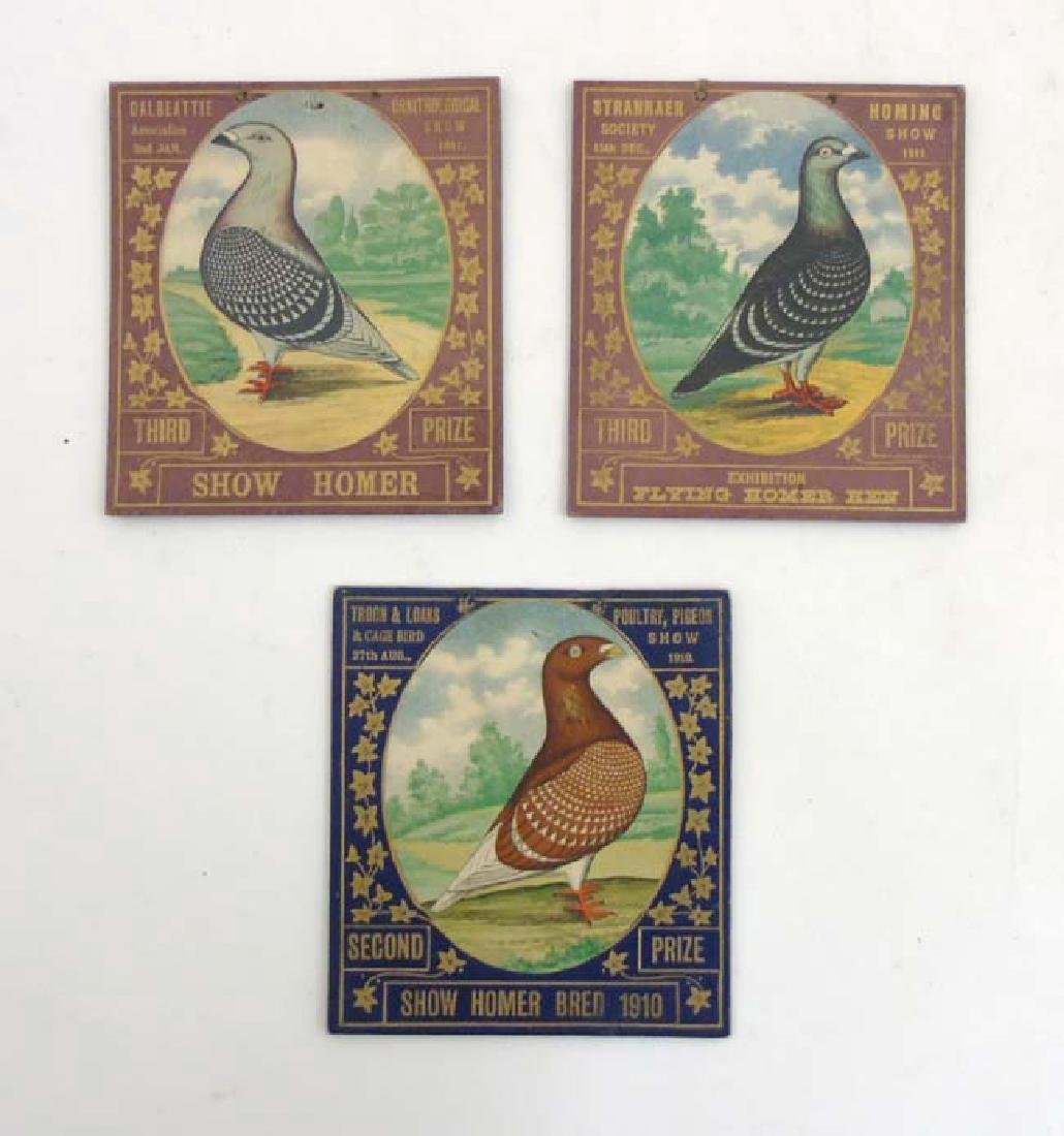 Pigeon Showing : 3 gold tooled and Chromolithograph