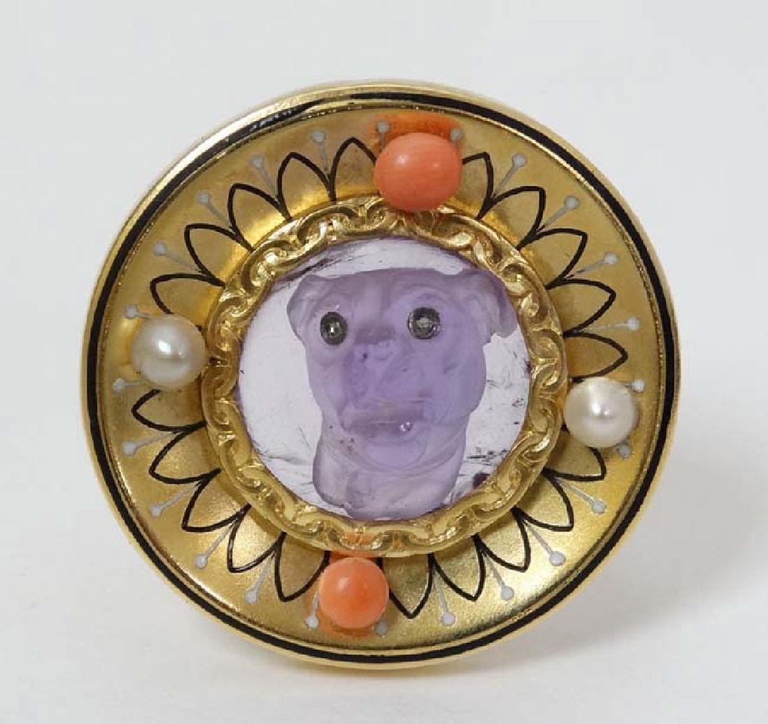 An unusual Continental Gold and gilt metal brooch of