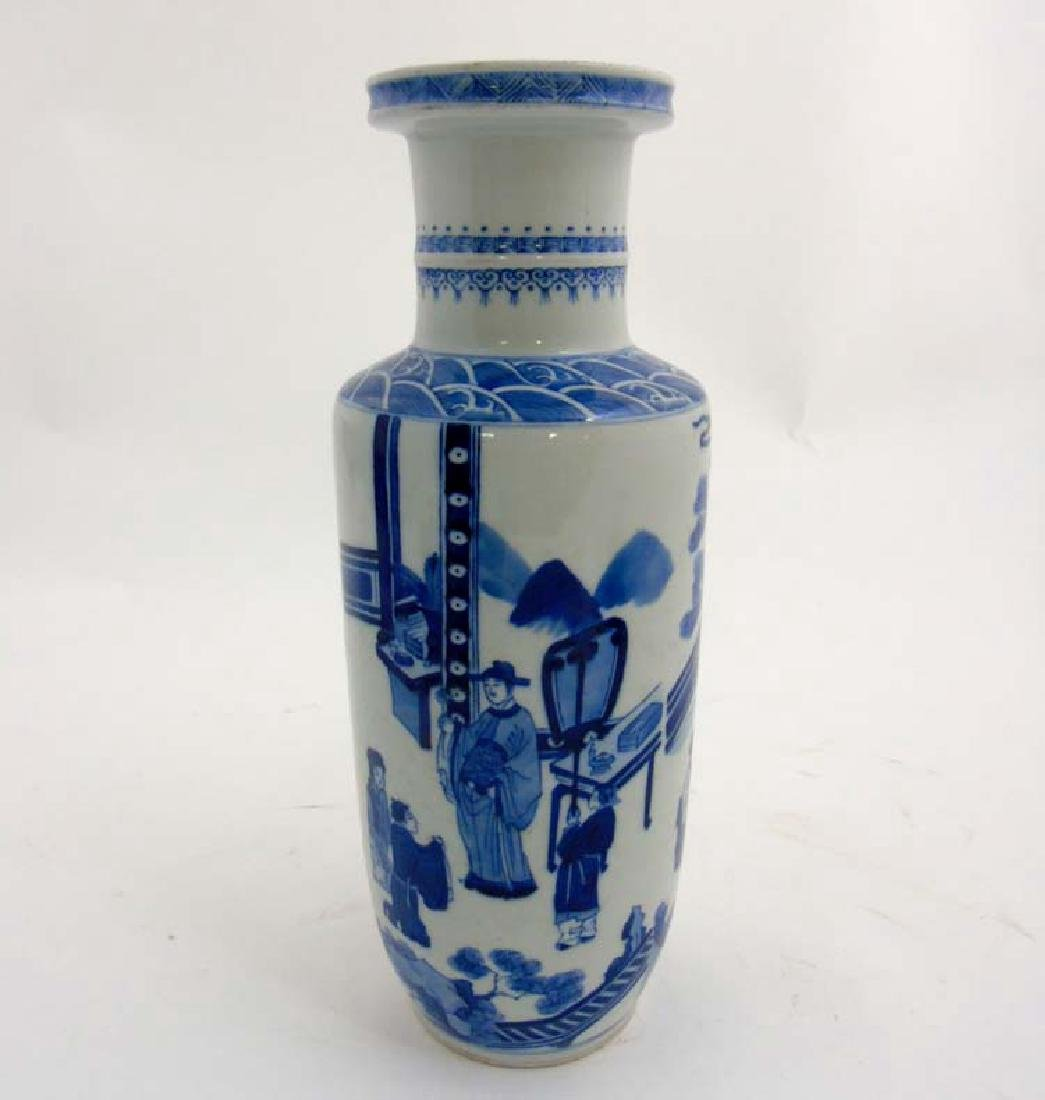 A Chinese porcelain Blue and White Rouleau urn vase