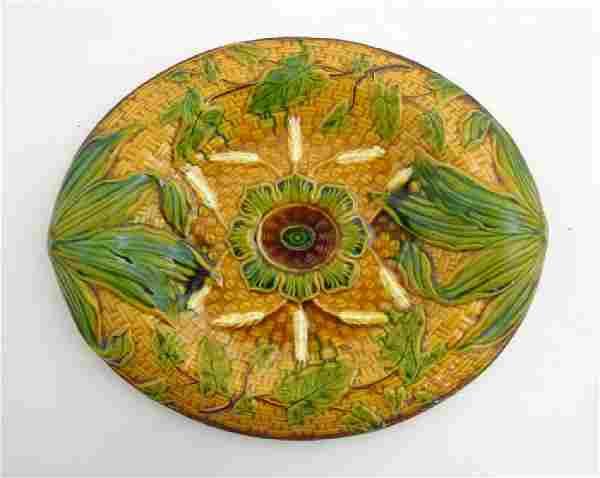 A Victorian Majolica basket weave bread plate ,