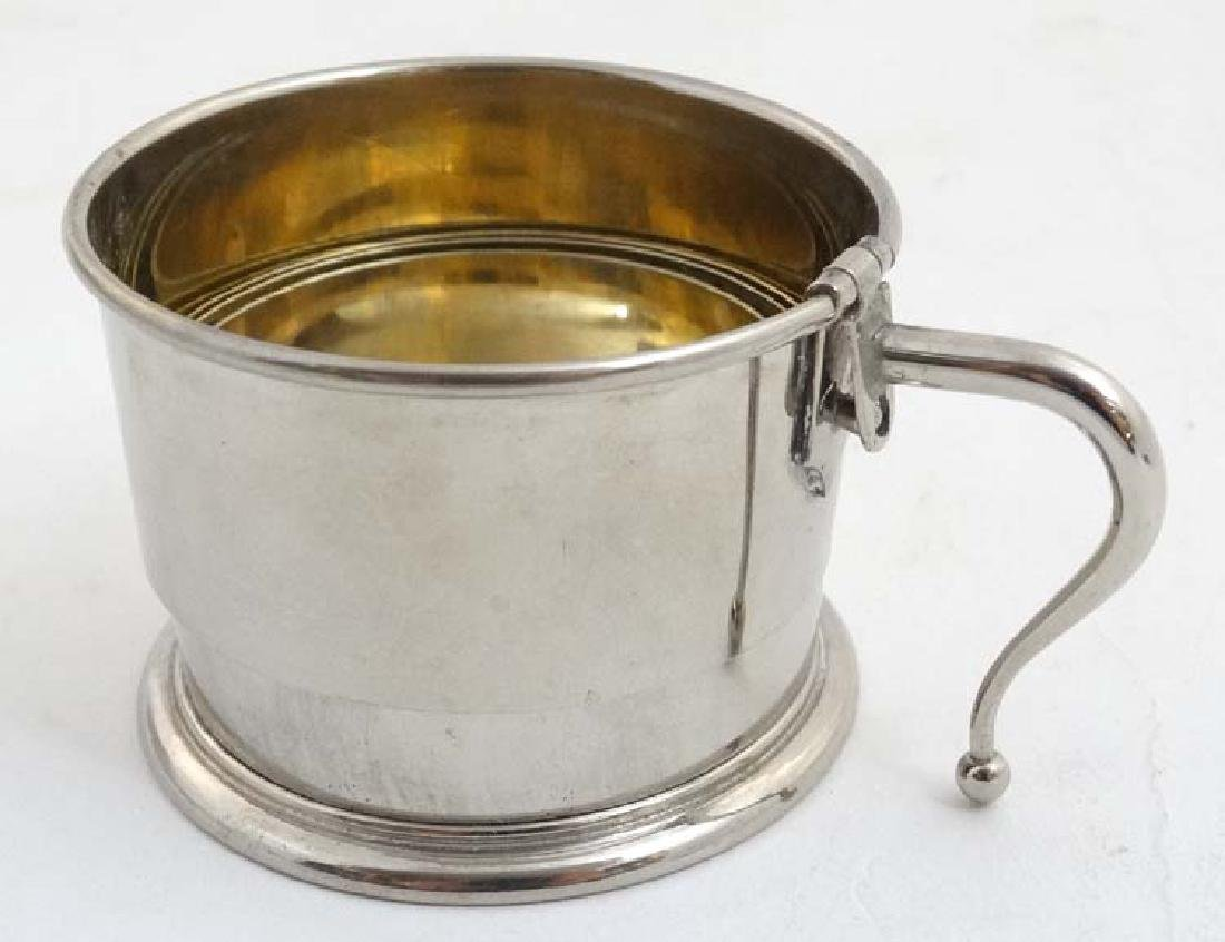A silver plate expandable / travelling cup with gilded - 3