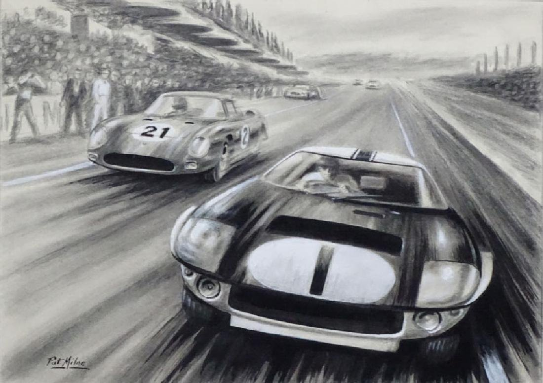 Patrick ' Pat ' Milne Automotive Art c.1955, Monochrome - 3