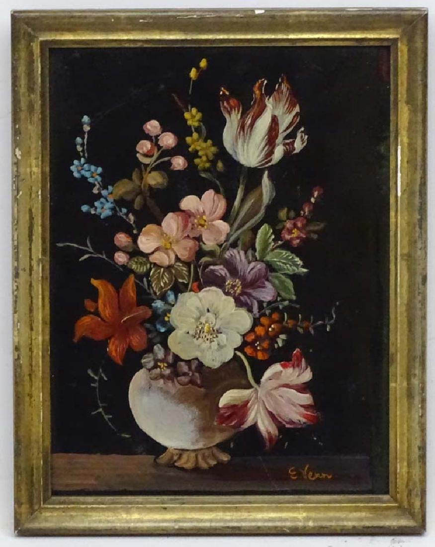 E.Venn XX Dutch School, Oil on board, Flower piece,