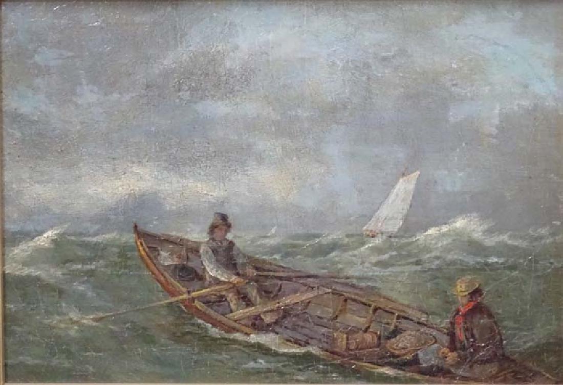 XIX Scandinavian School, Oil on board, Figures in a - 3
