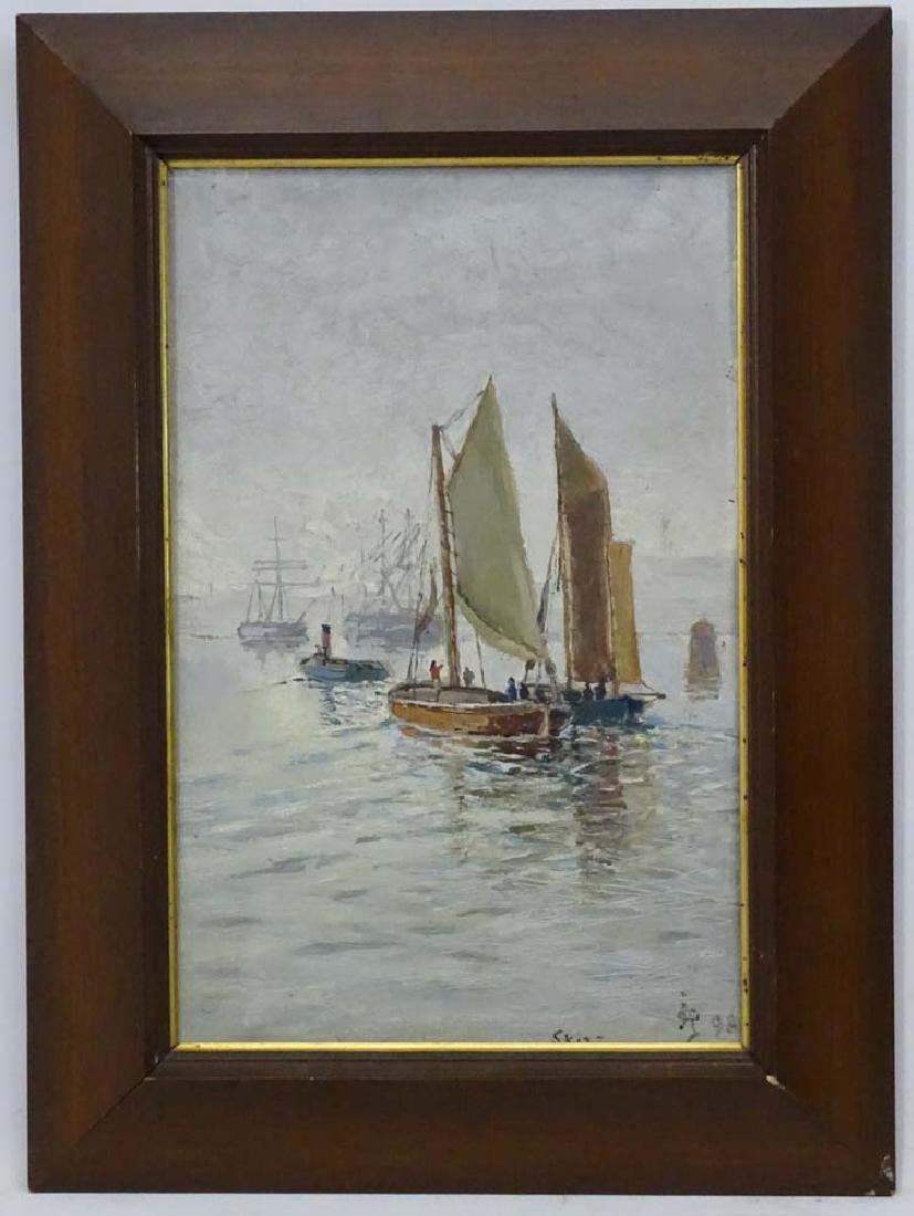Jacob A. Aarlberg, Oil on canvas, 'Skizz', Fishing