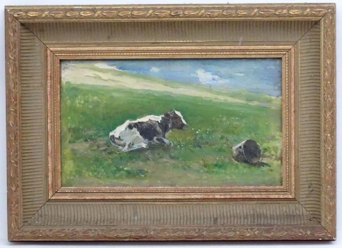 T . ARUSYK 1947 Russian School, Oil on card,  'KOPOBA '