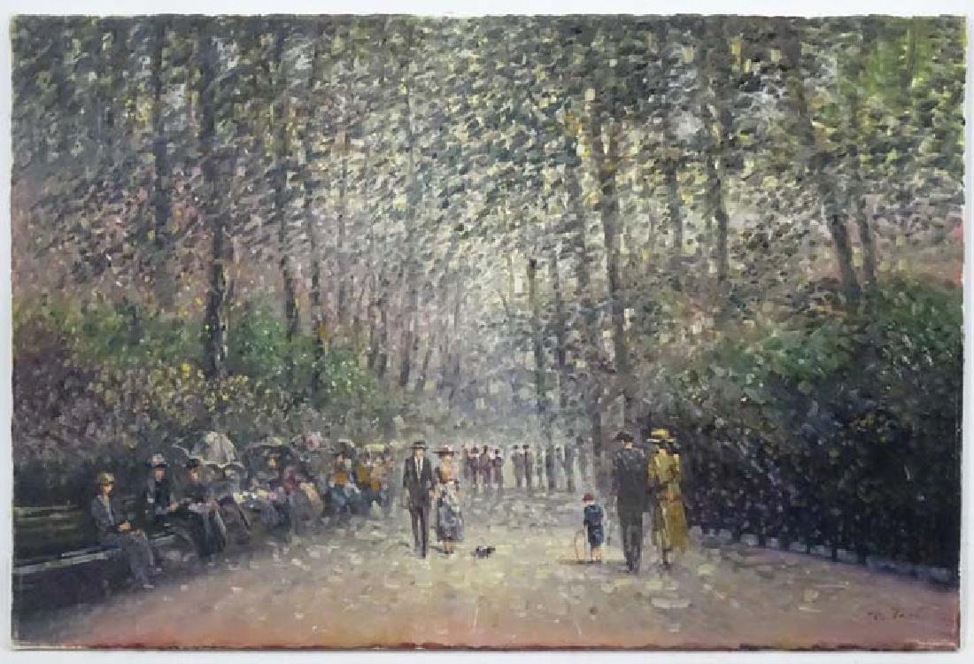 Ritter XX, Oil on canvas, French Promenade scene,