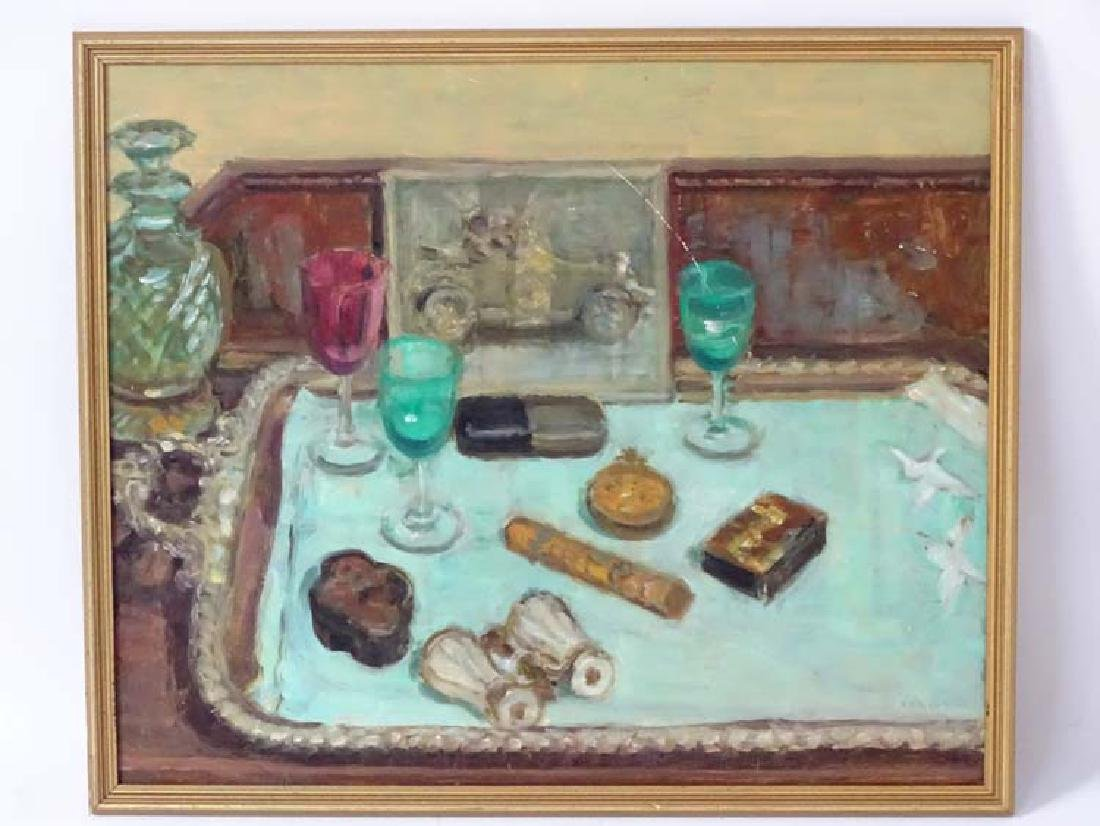 AE Broadbent XX, Oil on board, Still life of items on a