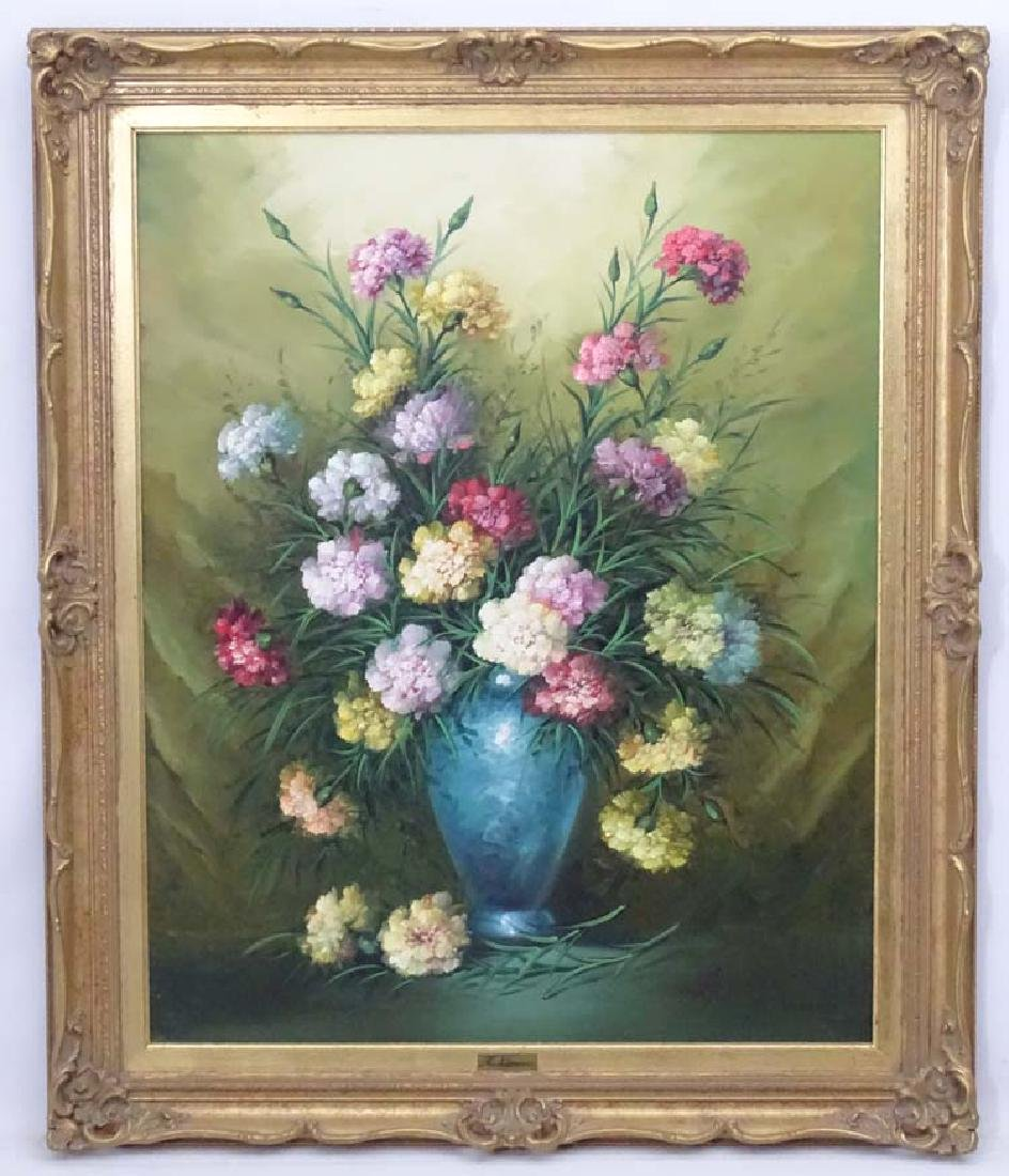 A Navarro XX, Oil on canvas, A Flower piece, carnations