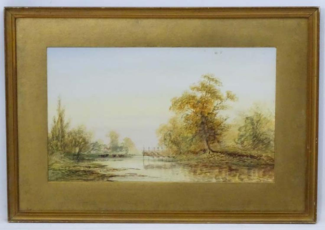 L Lewis (18)94, Watercolour, Eel traps on a river,