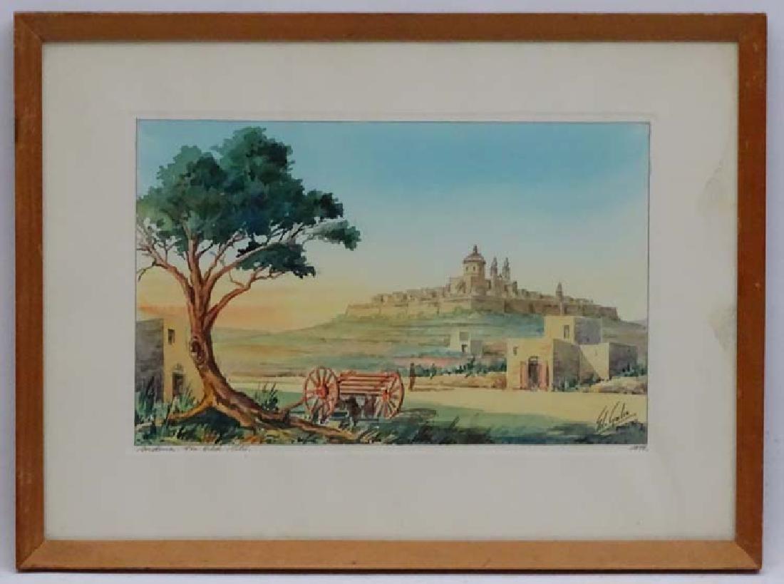 E Galea  Maltese School, Watercolour, ' Mdina . The Old