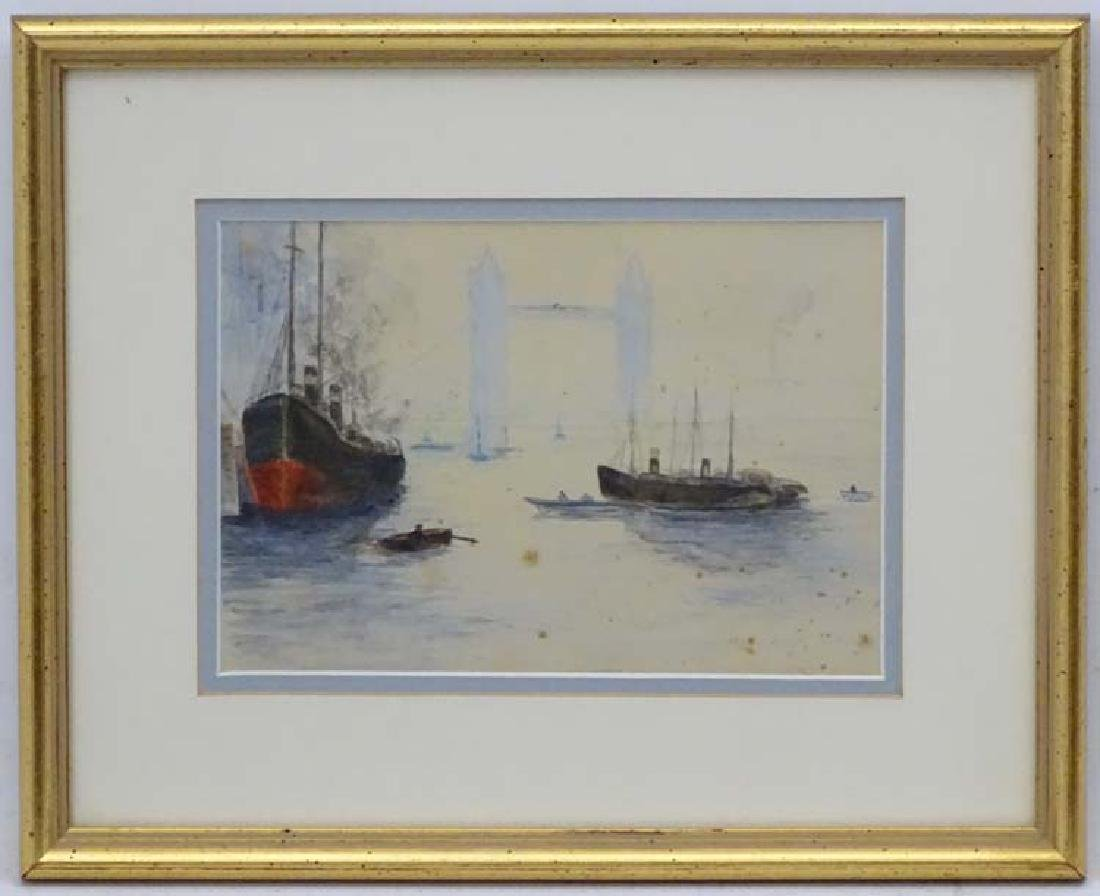 Early XX English School, Watercolour, Steam boats near