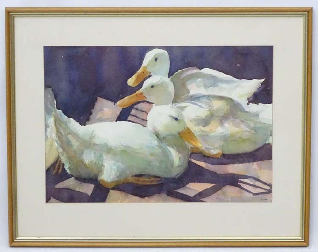 Joan Cook XX, Watercolour, ' Sunlit Ducks', Signed