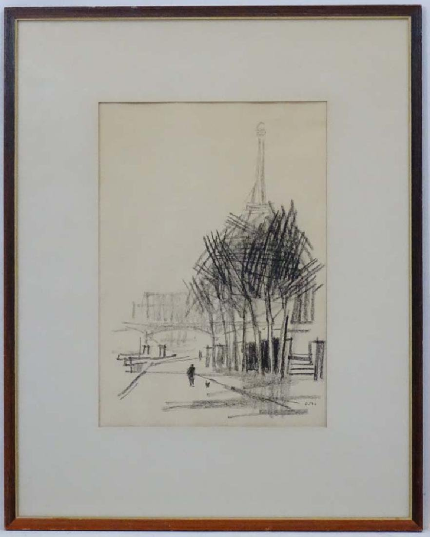 O.M. French School, Charcoal Sketch, The Eiffel Tower,