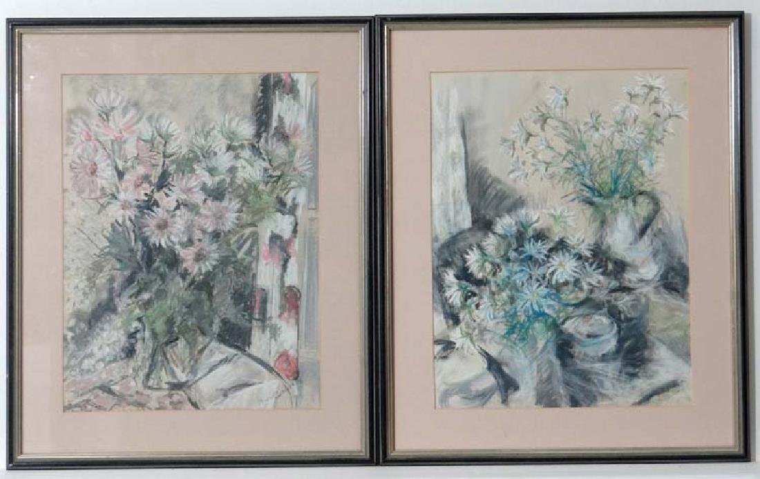 Nan Goodsell XX, Pastel on paper, a pair, ' Pink