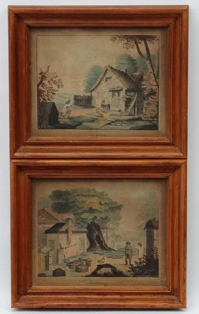 J Edwards 1796 ?, Watercolour , a pair, ' Morning ' & '