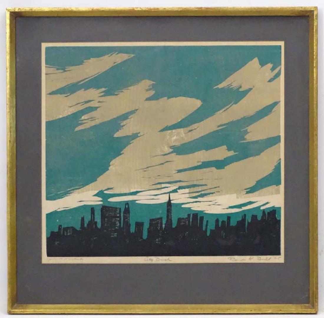 Randi Kjerstad Bull (1915-?), Coloured print  'New York