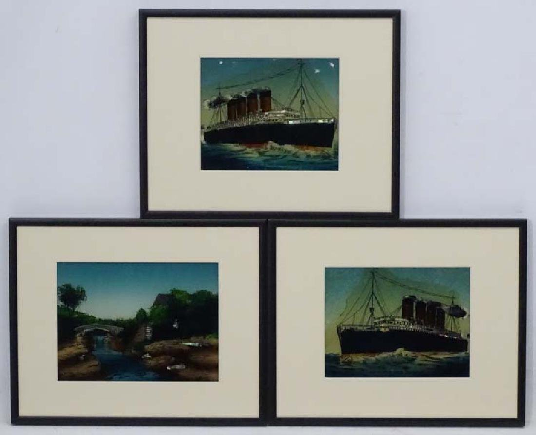 Early - Mid XX Reverse glass images, Three framed,