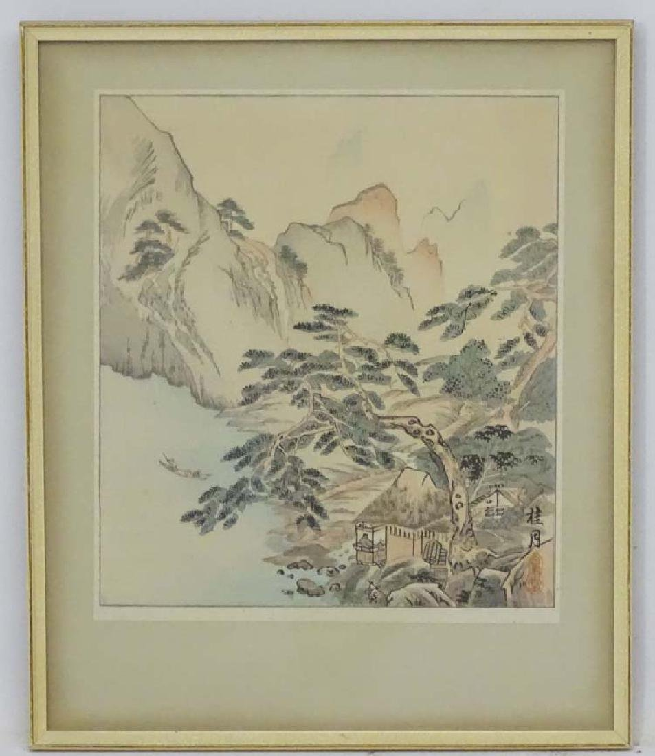 Oriental Woodblock, Figures and countryside at seas