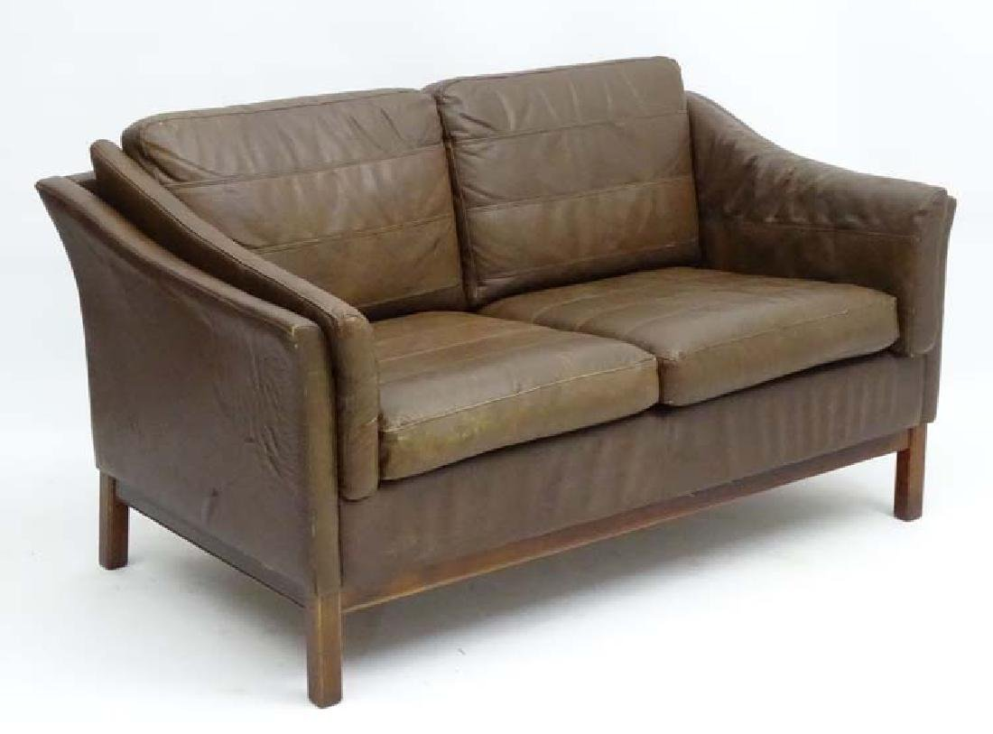 Vintage Retro: a Danish  2 seat sofa with brown leather