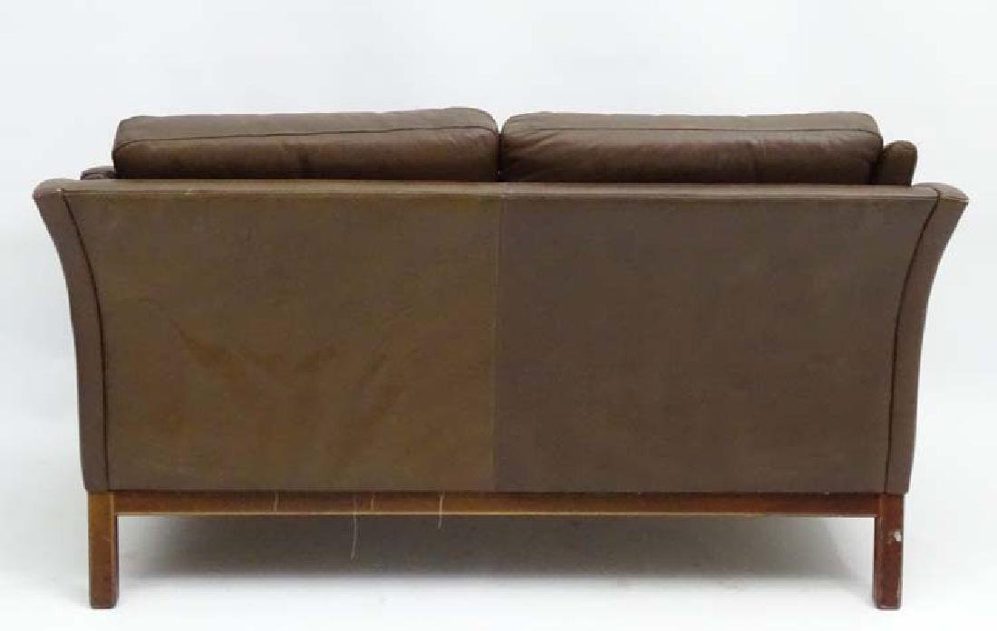 Vintage Retro: a Danish  2 seat sofa with brown leather - 2