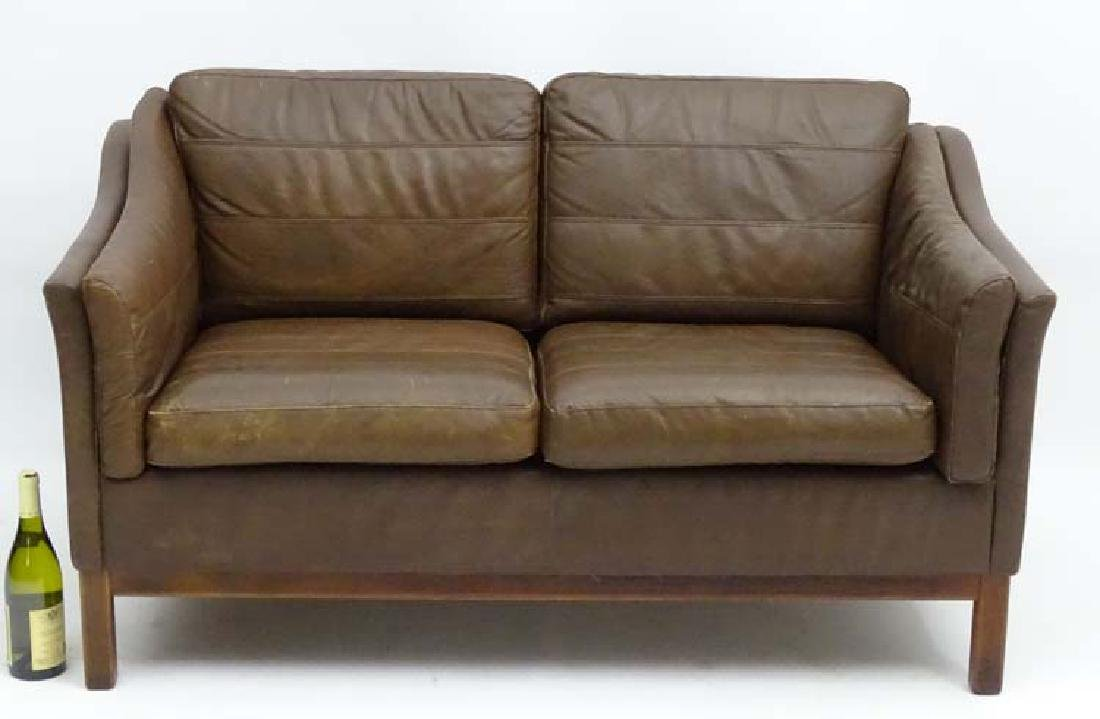 Vintage Retro: a Danish  2 seat sofa with brown leather - 4