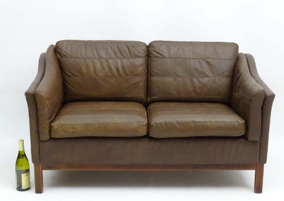 Vintage Retro: a Danish  2 seat sofa with brown leather - 5