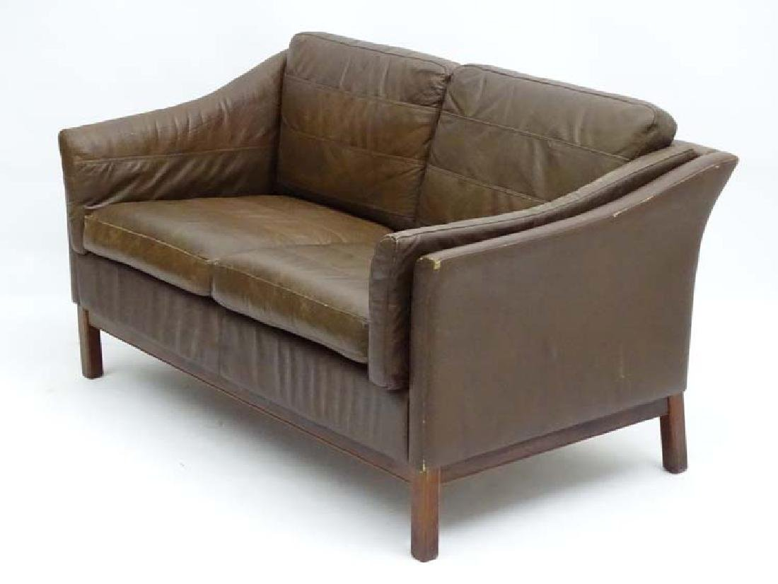 Vintage Retro: a Danish  2 seat sofa with brown leather - 6