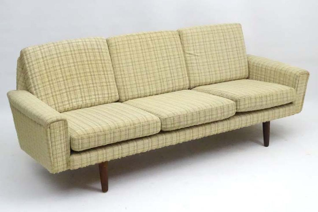 Vintage Retro: A Danish oatmeal woollen upholstered 3