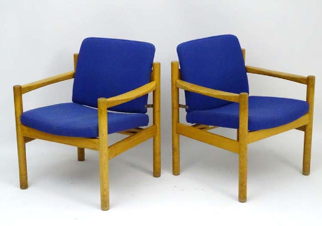 Vintage Retro : a pair of Danish blonde oak open arm