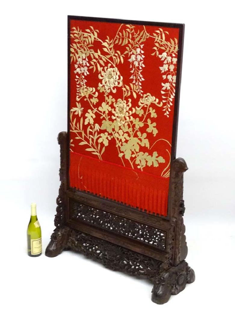 18 /19thC Chinese : a  hand stitched silk screen on a