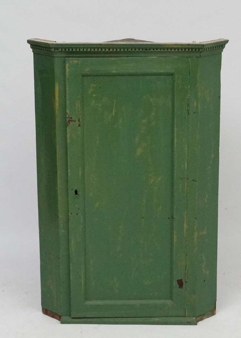 A Georgian painted oak hanging Corner Cupboard 38 3/4''
