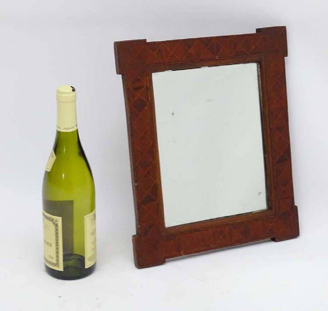 A late 19thC Kent parquetry framed Mirror 14'' x 11